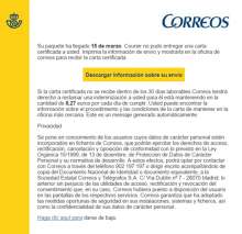 missatge fraudulent de l'entitat estatal Correus